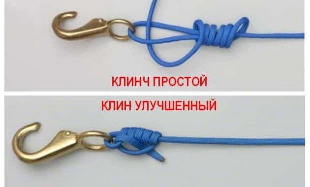 Рыболовные узлы Клинч простой и улучшенный