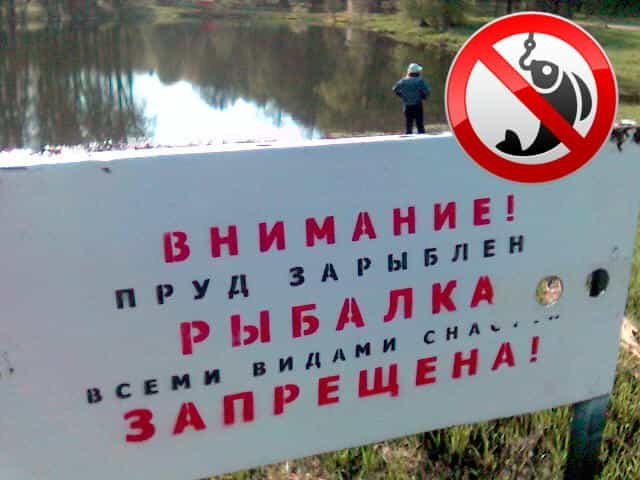 "Табличка ""Водоём зарыблен - ловить запрещено"""