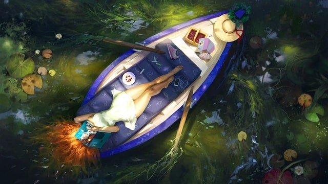 Женщина в лодке читает книгу