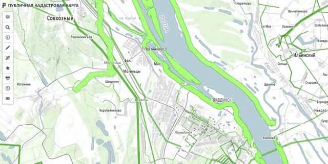 Водоохранная зона на карте