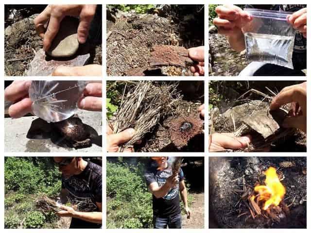 Процесс добычи огня без спичек и зажигалки с помощью пакета
