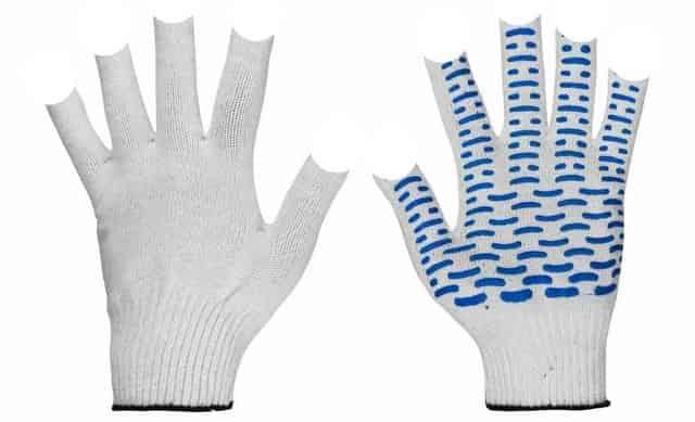 Защита рук от комаров на рыбалке - обрезанные строительные перчатки