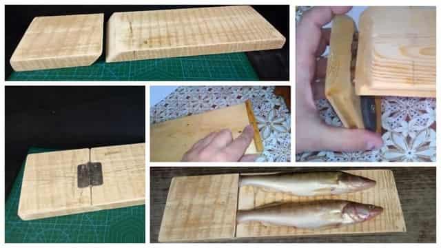 Самодельная спец доска для чистки рыбы от чешуи с зажимом