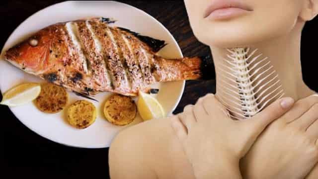 Как удалить косточку из горла от рыбы