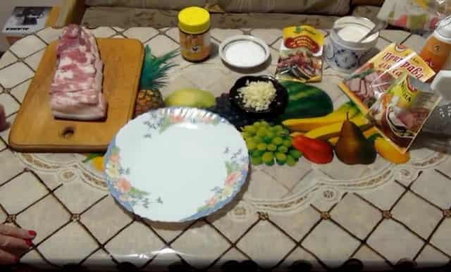 Продукты для приготовления варёного сала в пакете