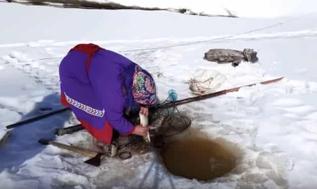 Женщины народов ханты на рыбалке